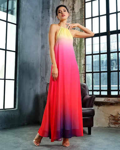 Sylvia Metal Ring Round Neck Open Back Ombre Chiffon Long Dress