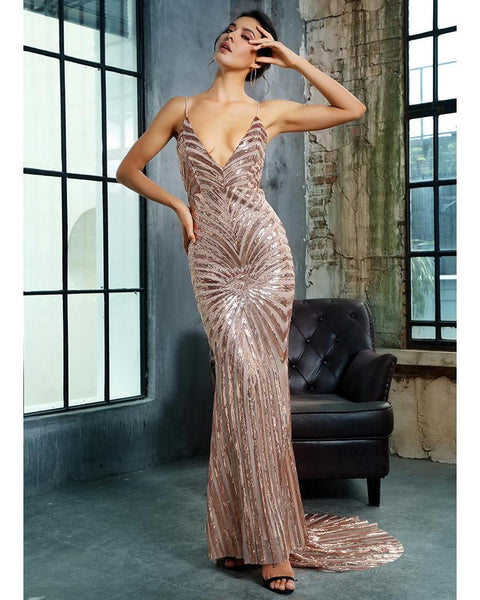 Hazel Geometric Sequin Beaded Deep V Neck Open Back Bodycon Dress