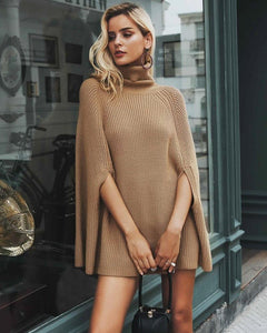 Jade Knitted Turtleneck Caped Sweater in Camel