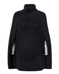 Jade Knitted Turtleneck Caped Sweater in Black