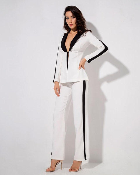Louisa Two Piece Plunging V Neck Jacket and Pants Set