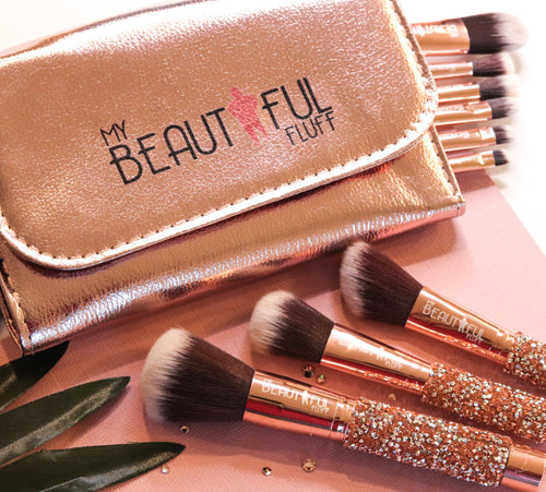 My Beautiful Fluff make up brush set glittery brushes with gold storage roll with My Beautiful Fluff logo