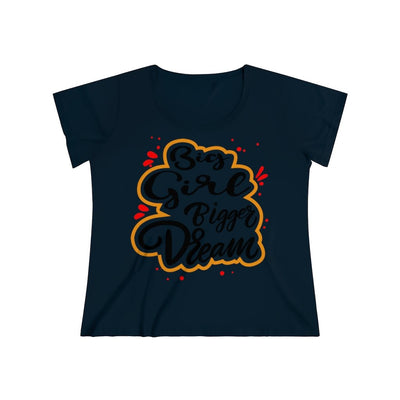 Big Girl Bigger Dream Women's Curvy Tee T-Shirt Printify 1 (14-16) Navy