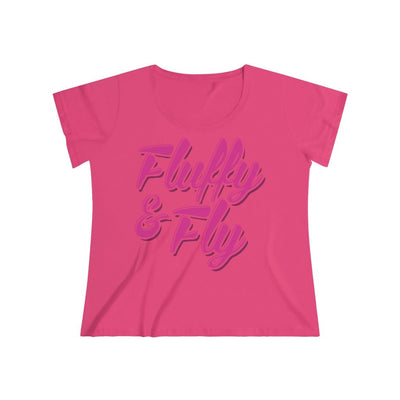 Fluffy and Fly Women's Curvy Tee T-Shirt Printify 1 (14-16) Hot Pink