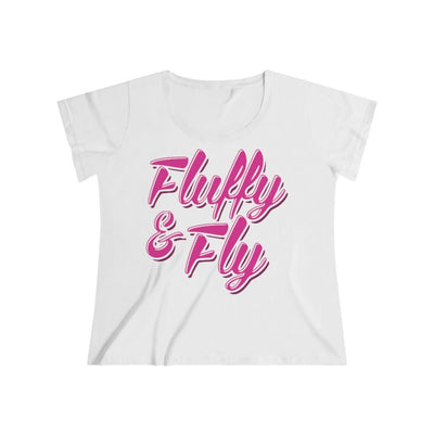 Fluffy and Fly Women's Curvy Tee T-Shirt Printify 1 (14-16) White