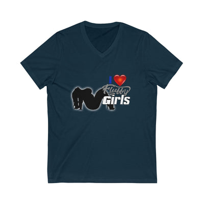 I love Fluffy Girls Men's Jersey Short Sleeve V-Neck Tee V-neck Printify Navy S
