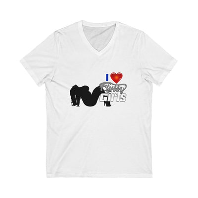 I love Fluffy Girls Men's Jersey Short Sleeve V-Neck Tee V-neck Printify White S