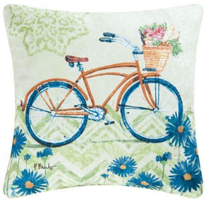 Yellow Bicycle Pillow