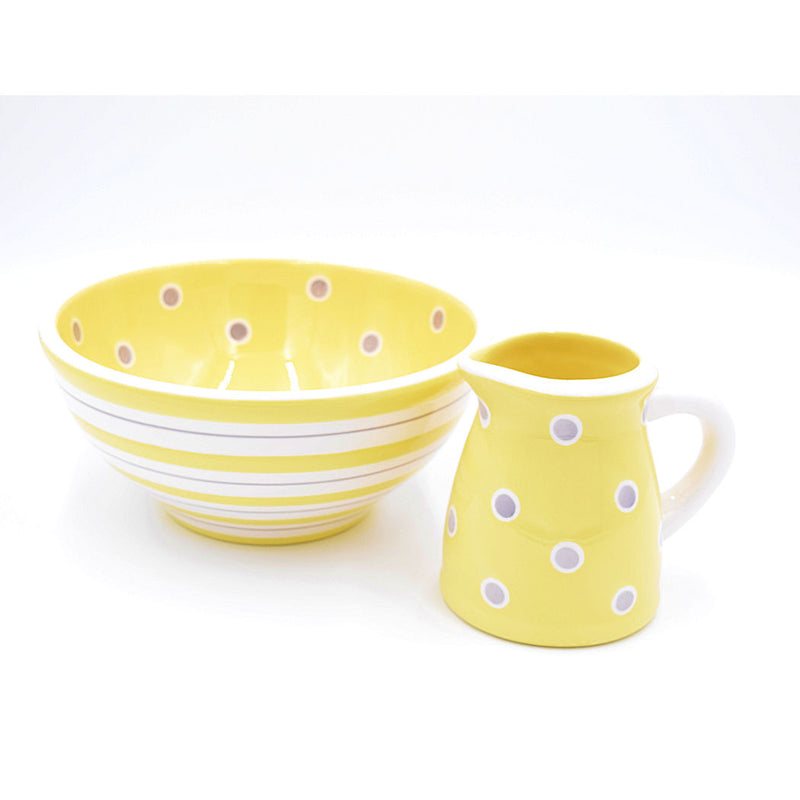 Yellow Striped Serving Bowl With Polka Dot Interior