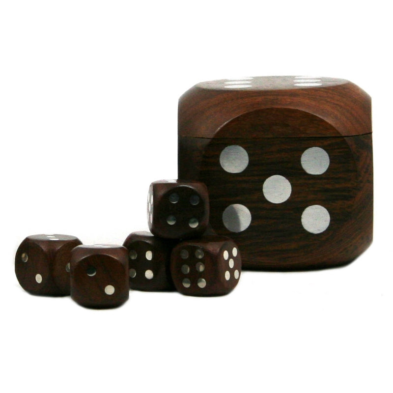 Dice Box With 5 Dice, Silver