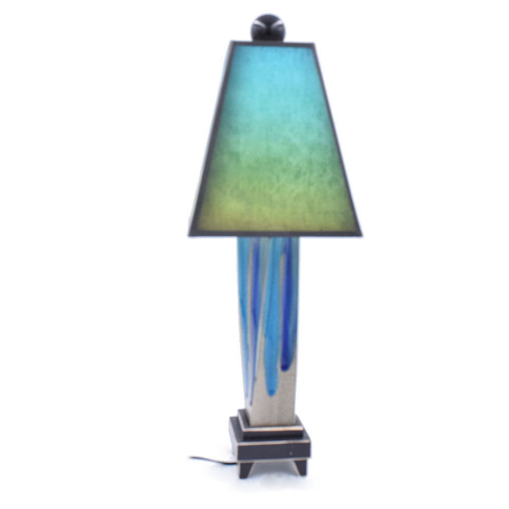 Ceramic Lamp With Hand Painted Green Blue Shade