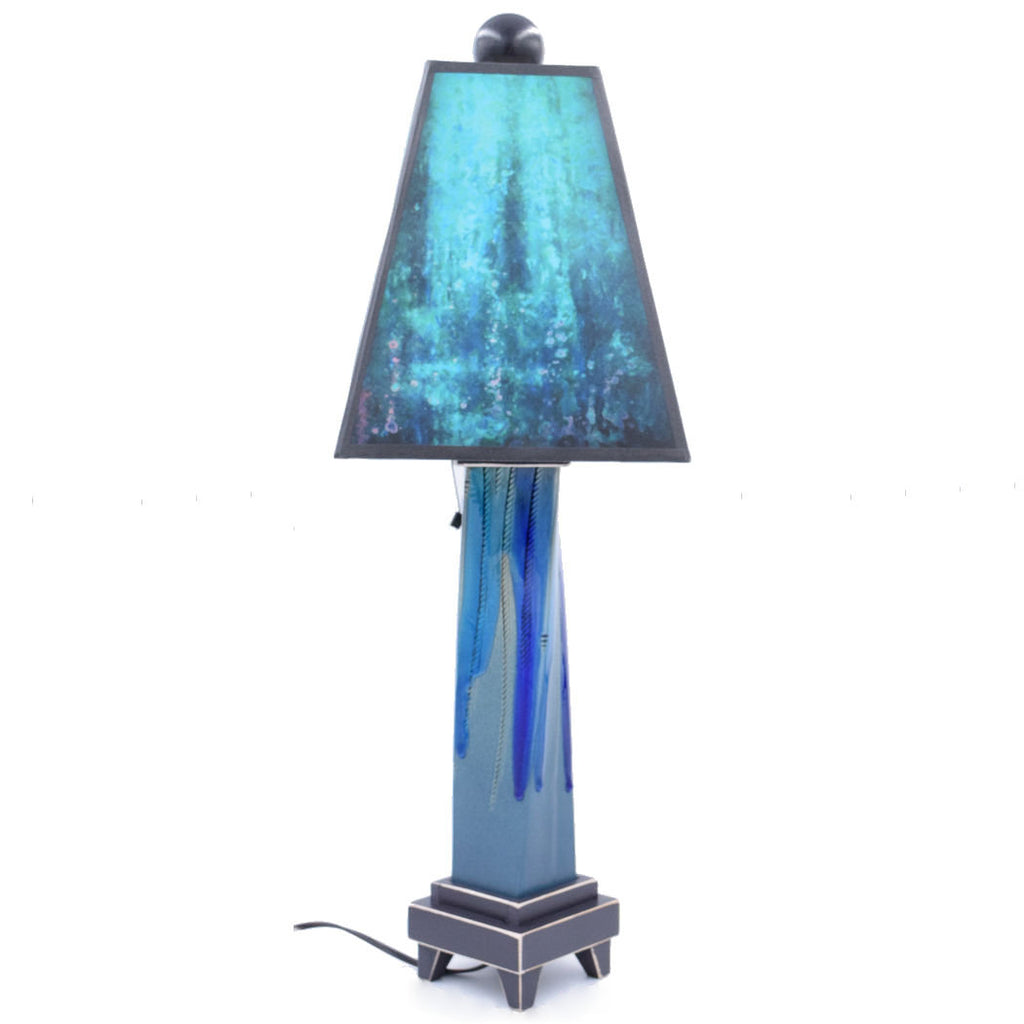 Ceramic Lamp With Hand Painted Blue Green Shade