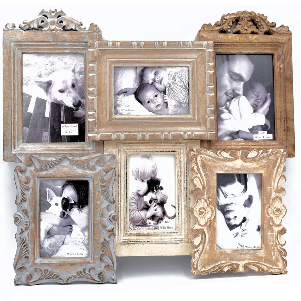 Hand Carved Wood 9 Frame Collage