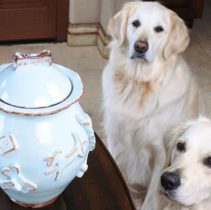 Carmel Ceramica Dog Treat Jar Blue