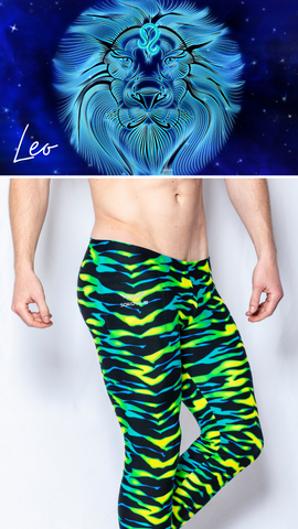 Neon Tiger Print Mens Leggings