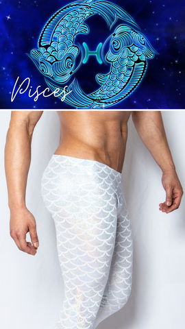 Mens Leggings Scales Fish Merman Mermaid White GLBTQ