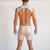 White Scales - Pocketed Festival Shorts - SokoWear