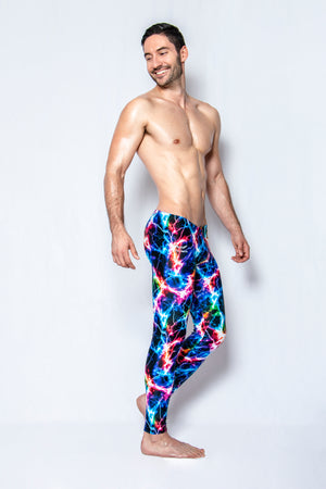 Neon Lightning - Men's Leggings - SokoWear