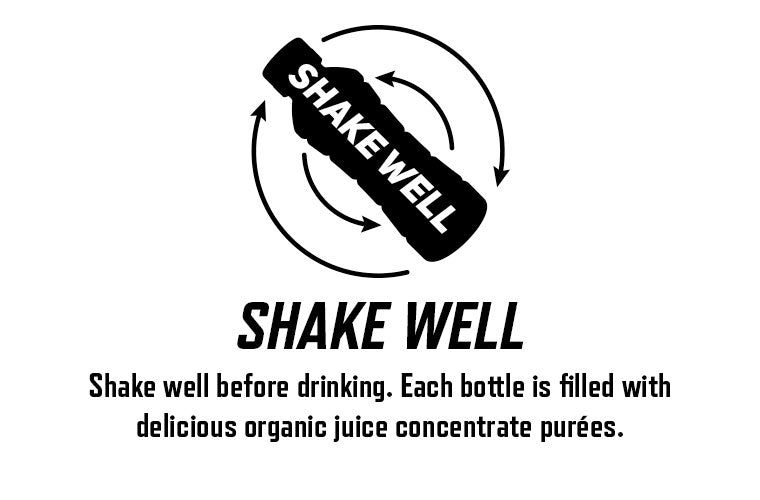 Shake well before drinking. Each bottle is filled with delicious organic juice concentrate purees.