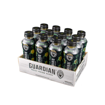 Twelve pack of Guardian Rehydration Tropical Sports Hemp Drink
