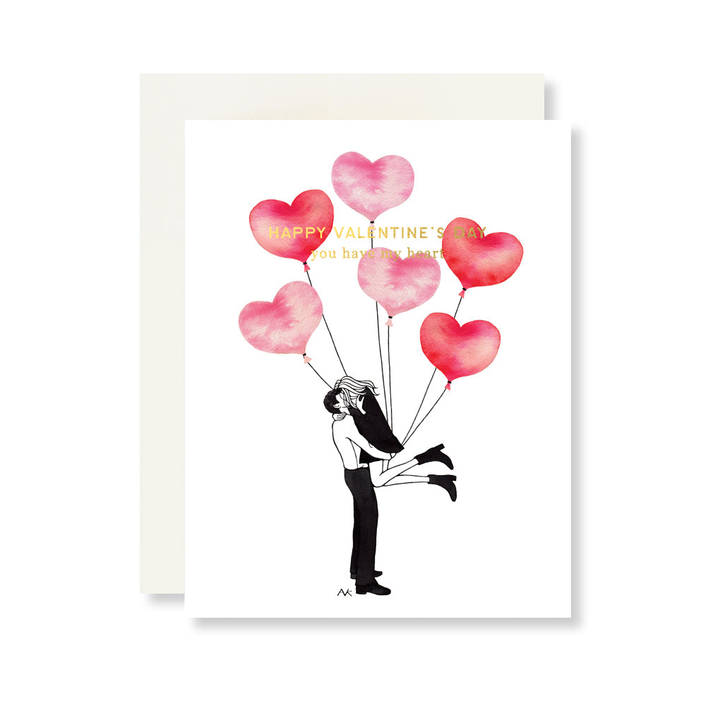 Balloons Valentines Card w. Gold Foil