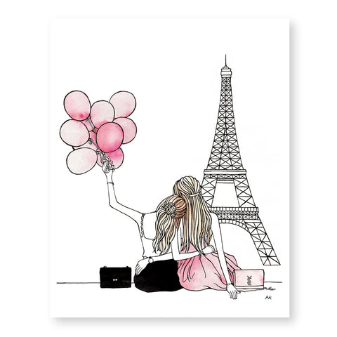 paris eiffel tower best friend art print