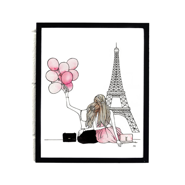 pink fashion illustration best friend wall decor