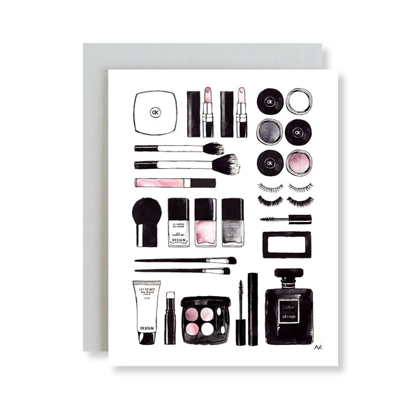 beauty product fashion illustration card
