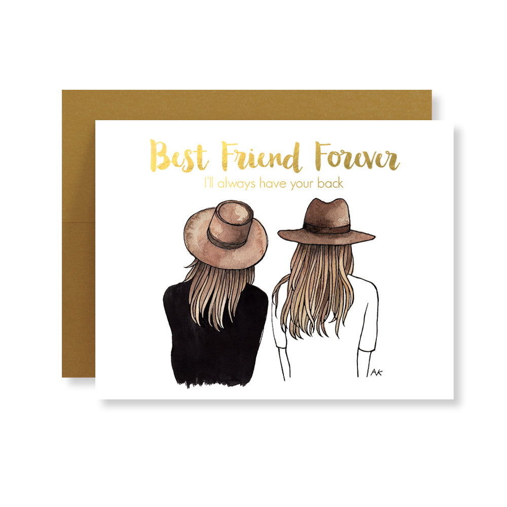 best friend forever fashion illustration card