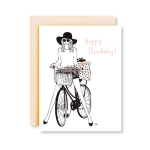 bicycle girl fashion illustration birthday card