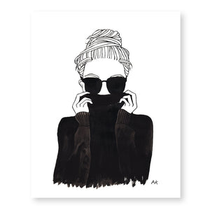 black turtleneck woman art print