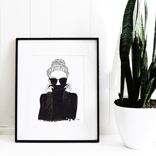 fashion woman illustration wall decor