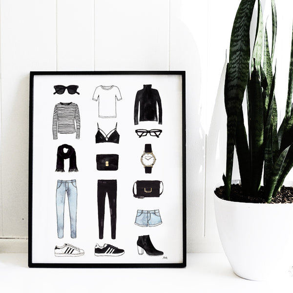 minimal fashion items wall print