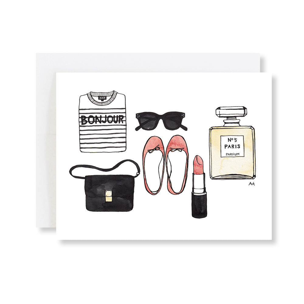 bonjour lip stick purfume illustration card