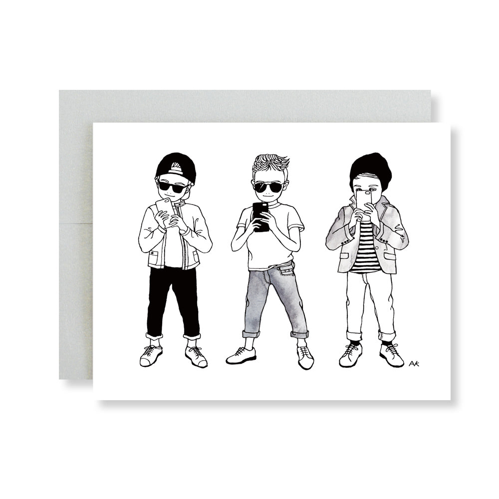 stylish boy illustration card