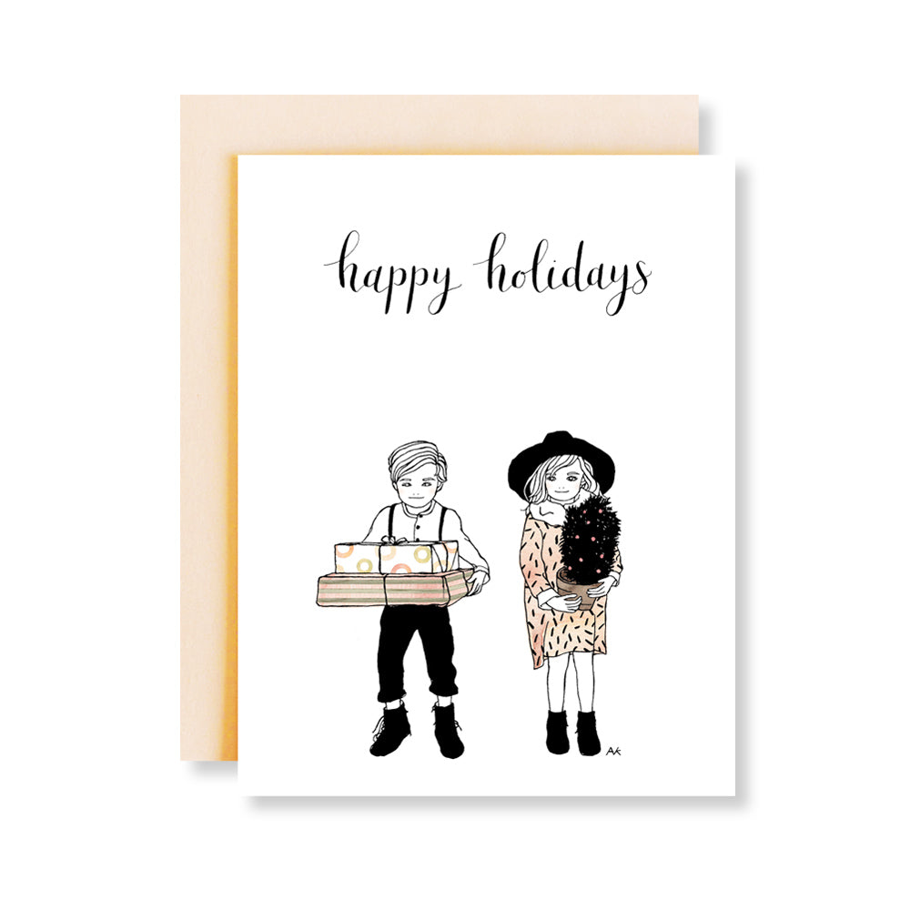 boy and girl illustration holiday card
