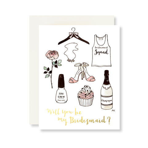 bridesmaid fashion illustration card
