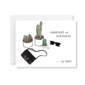 cactus fashion illustration birthday card