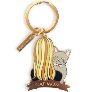 Gray Cat Keychain - Blonde Hair