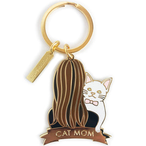 White Cat Keychain - Brunettes Hair