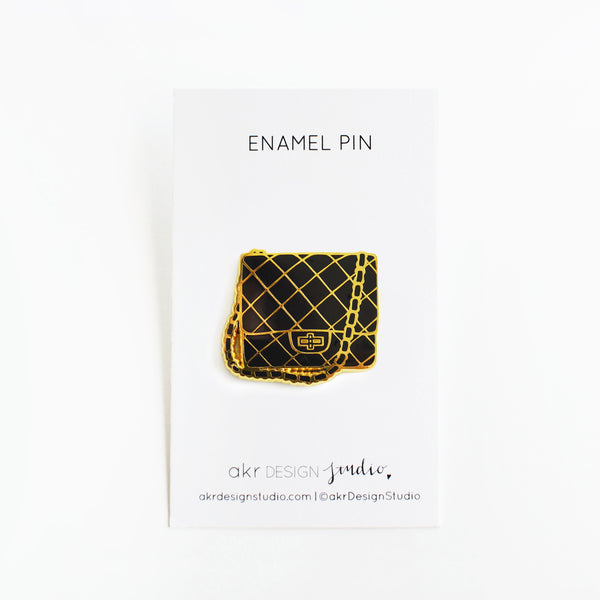 black chain bag fashion enamel pin