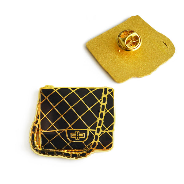 Quilted Chain Bag Enamel Pin