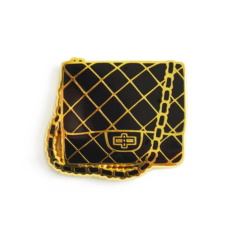 black quilted chain bag hard enamel pin
