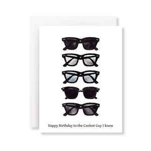 mens sunglasses fashion illustration birthday card, card for him
