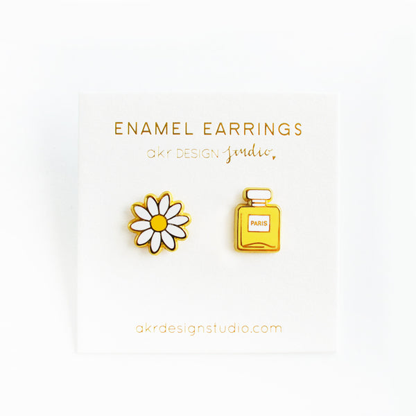 daisy flower perfume bottle earrings