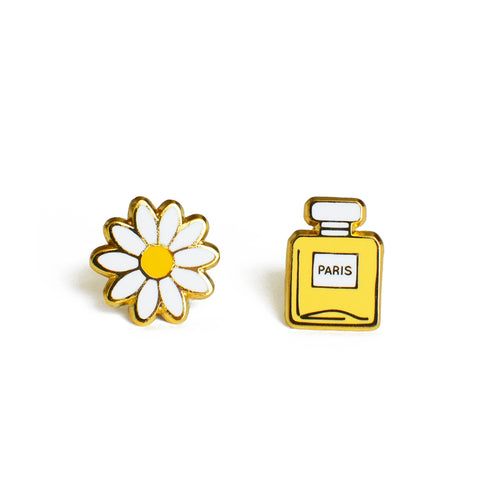 daisy and perfume bottle enamel earrings