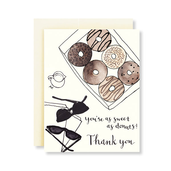 you're as sweet as donuts thank you card