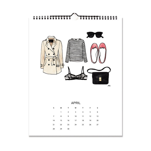 trench coat illustration calendar