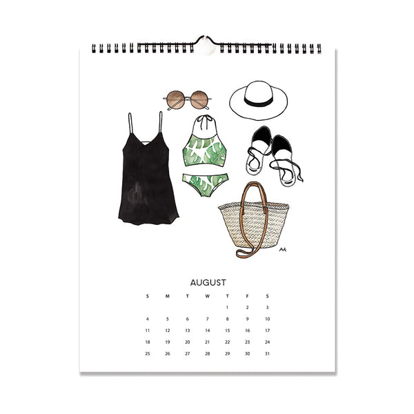 bikini illustration fashion calendar