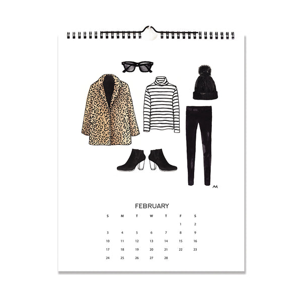 leopard jacket fashion wall calendar